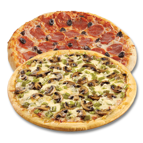 Picture of Pepperoni and Olive Pizza and Mushroom and Green Pepper Pizza